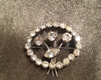 Art Deco Brooch/Vintage silver tone diamante/paste brooch/rhinestone brooch/ flower brooch/Costume jewellery/ old brooch