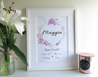 Birth Announcement Print | Nursery Wall Art | Personalised Shower Gifts | Name Print | Tribal Nursery | Birth Stats | Rose Gold Foil A4