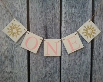 winter onederland banner, pink and gold first birthday banner, first birthday high chair banner, girl birthday banner, one birthday banner