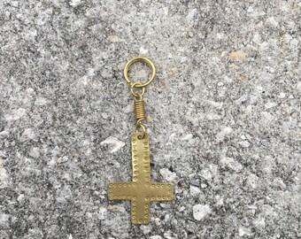 Brass Upside Down Cross Keychain Bangin Jewelry