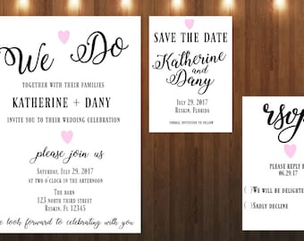 Wedding Invitation|Printable|Save the date|RSVP
