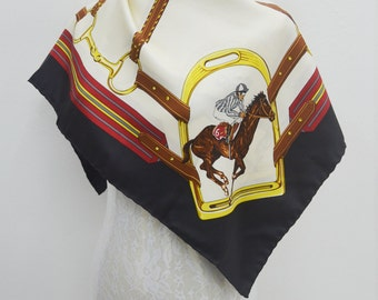 FREE SHIPPING!!! Longchamp Vintage Longchamp Equestrian Art Horse Theme Made in Italy 100% Silk Scarf