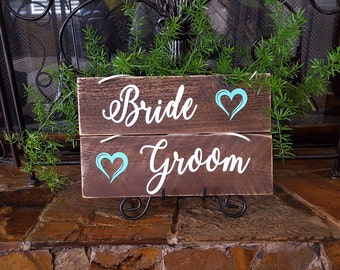 Bride and Groom Chair Signs. Rustic Wedding Chair Signs. Wedding Chair Signs.  Wedding signs. Mr and Mrs.