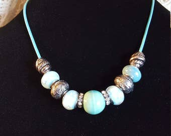 """BLUE BEADED NECKLACE - Gorgeous Blue/Silver Variety beads on a Blue Leather 18"""" Chain - classic!"""