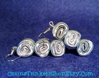 Three Face Swirl Earrings, polymer clay, fashion, dazzling, dangle, charm, youthful, design, artsy, casual, birthday, present, gift, silver