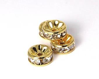 50pc, Gold Rhinestone Beads, Grade AAA,Rondelle, 6x3mm