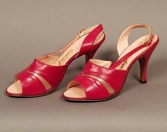 1950's Vintage Red A'mano Slingback Heels