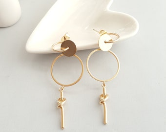 Gold Circle Drop knotted Earrings, Circle Drop Earrings, Geo Knotted Earrings, Circle Knotted Drop Earrings, Gold Circle Drop Earrings,
