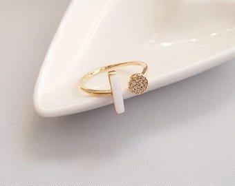 White Stone Gold Ring,White Stone Ring,Marble Ring,White Marble Ring,Geo Marble Ring,White Stone Ring,Minimalist Ring,Minimalist Marble Ring