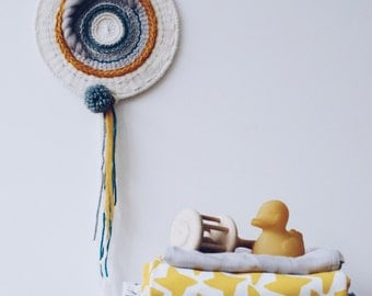 Sunny sky round wall hanging with pompom/woven wall hanging/textile weaving/wall art tapestry
