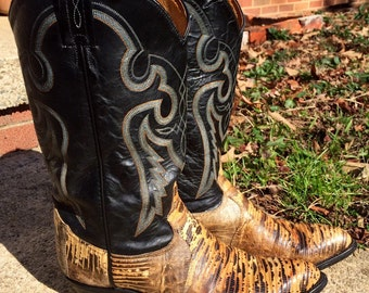 Vintage Tony Lama Men's Snakeskin Leather Boots Size 9 1/2 D, Men's Fancy Cowboy Western Boots