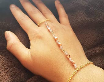 Pink rose gold plated slave bracelet, Bead ring wrist chain bracelet, Hand harness chain, Prom jewellery, Hand accessories, Gift for her
