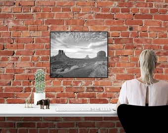 Monument Valley Arizona Photo, Black White Photography, American Southwest Photograph, American West Desert