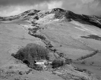 Fine Art Photograph of the Ceulan Valley, Ceredigion, Wales, Mountain, Farm, Snow, Fine Art, Black and White, Limited Edition
