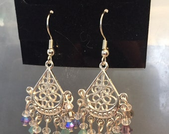 Handmade chandelier earrings with sparkling Swarovski crystals