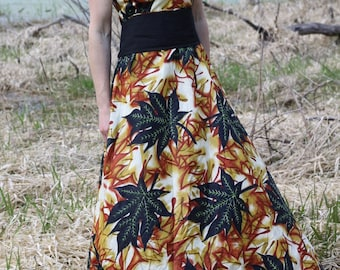 Vintage Maxi Dress African Print Sleeveless Sun Dress Empire Waist V-Neck Medium