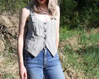 Vintage Striped Camisole Cropped Button Up Crop Top Cami Tank XOXO Medium