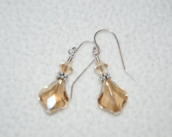 Swarovski Crystal Golden Shadow Baroque Earrings
