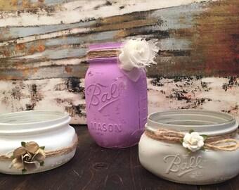 Shabby Chic mason jar  Organizer or Multifunctional decor