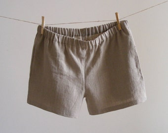 Simply Classic Pure Linen Boxer Shorts With Side Pockets