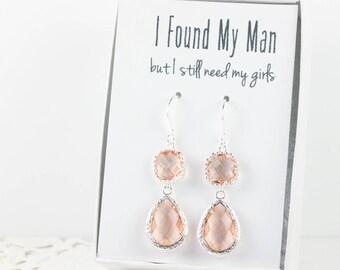 Long Blush Silver Teardrop Earrings, Peach Wedding Jewelry, Peach Silver Earrings, Champagne Silver Earrings, Bridesmaid Earrings