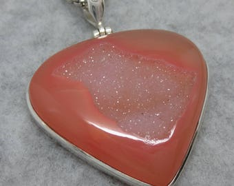 """Huge 2"""" Peach Druzy Pendant - Sterling Silver - 17.4g - Free Shipping to the USA"""