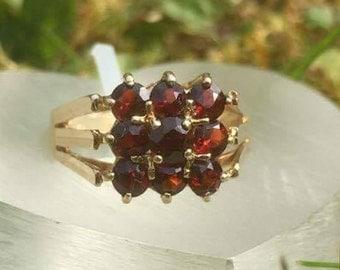 Geometric Square Garnet Vintage 9ct Gold Ring