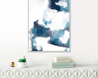 Blue Abstract Art, Modern Art Print,Abstract Painting, , Blue Watercolour, Large Original Wall Art
