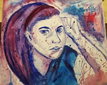 Self Portrait in Gouache