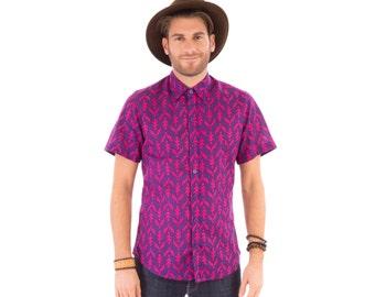 Mens 100% Cotton Short Sleeve Slim Fit Shirt Purple Print
