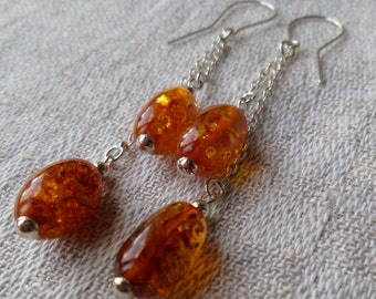 Genuine Baltic Amber Cognac Glittering Earrings 925 Sterling Silver