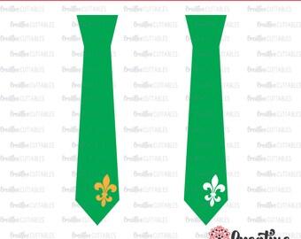 Mardi Gras Necktie SVG Digital Cut File (2 versions included)