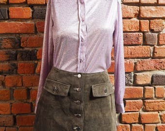 Women's 90s Lilac Pastel Purple Long Sleeve Shirt Blouse With Silver Sparkly Pattern Size Small