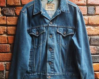 90s Levi's Dark Blue Denim Jacket Size Large