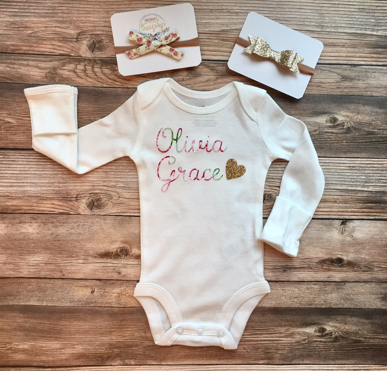 Gold Glitter And Floral Baby Name Onesie Newborn Outfit