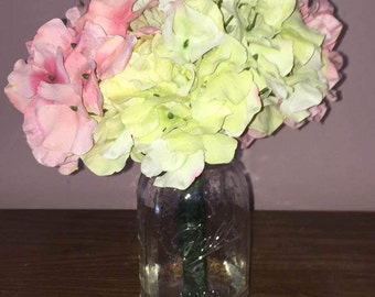Pink and Green Hydrangeas with Faux Water in a Mason Jar