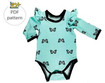 Baby bodysuit pattern, PDF sewing pattern, Baby onesie sewing pattern, Newborn to 3 years, Flutter sleeve onesie sewing pattern