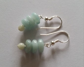 Earrings with jade and Amazonite bead buttons