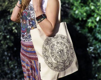 Fairtrade Organic Twill Bag in Natural Cream Colour. 'Oneness' Mandala Design