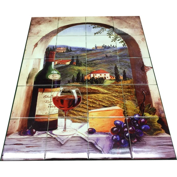 Hangable tile mural kitchen backsplash kitchen art for Artwork on tile ceramic mural