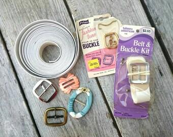 Vintage Belt & Buckle Kit~ Buckle Set~Mother of Pearl Buckle~Talon American Belt Kit~Prims Golden Fashion Tone Four in One Buckle