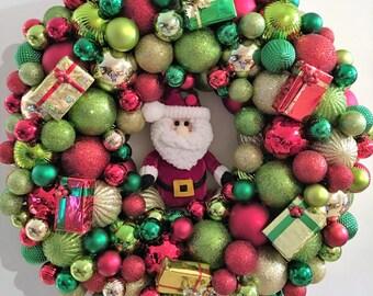 Santa Christmas Ball Wreath
