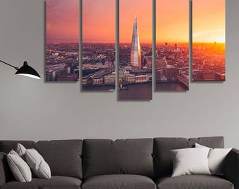LARGE XL London Skyline at Sunset Canvas Print Panoramic City View Canvas Orange Summer Sunset Wall Art Print Home Decoration - Stretched
