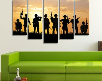 LARGE XL Soldiers Silhouettes Canvas Print Team of Soldiers at Sunrise Canvas Weapons Guns Canvas Wall Art Print Home Decoration - Stretched