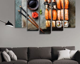 Japanese Food, Sushi, Sushi Plate, Japanese Décor, Japanese Wall Art, Japanese Wall Hanging, Sushi Set, Restaurant Décor