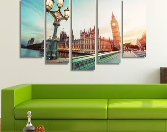 LARGE XL Big Ben from Westminster Bridge, London, the UK at Sunset Canvas Wall Art Print Home Decoration - Framed and Stretched - 1045