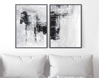 2 Abstract Art Prints, Set of Two Paintings, Digital Art Printable, Modern Abstract Art, Interior Decor, Printable Diptych, Minimalist Art