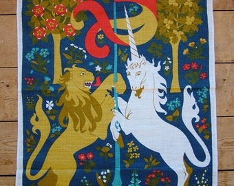 Vintage Ulster CPRE 'Lion and Unicorn' Pure Linen Tea Towel