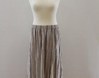 Vertically Stripped Skirt (Beige/Brown/Sky Blue)