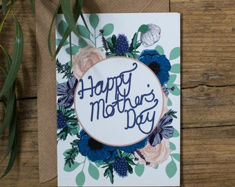 Happy Mother's Day Botanical Floral Greetings Card
